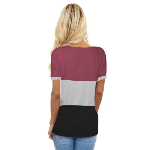 Black Colorblock Short Sleeve Choker T-shirt TQK210611-2