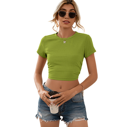 Green Open Back Lace Up Short Sleeve Crop Top TQK210605-9