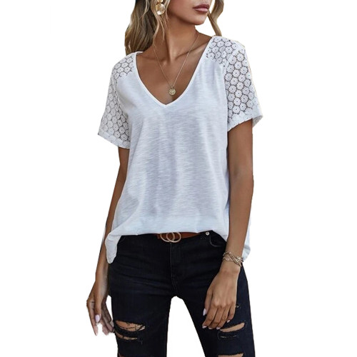 White Splicing Lace Short Sleeve T Shirt TQK210610-1