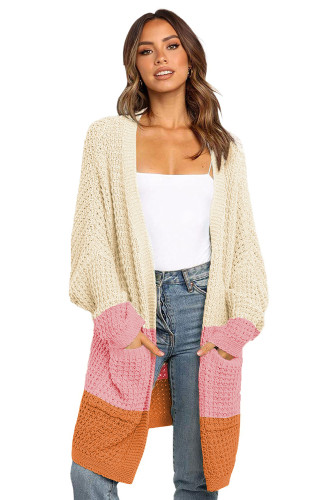 Pink Accent Long Line Open Front Knitted Cardigan with Pockets LC271188-10