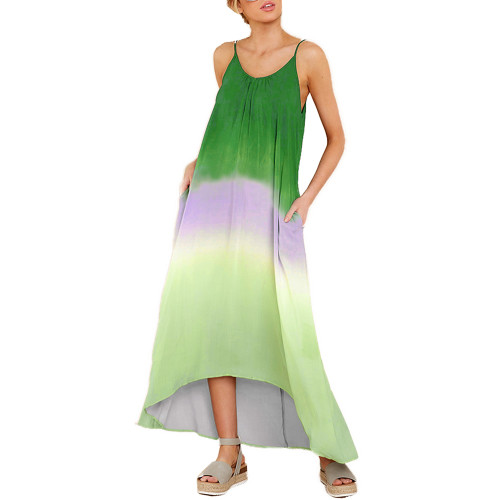 Green Ombre High Low Sling Maxi Dress TQK310483-9