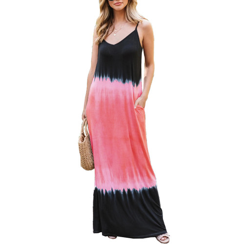 Watermelon Red Ombre Sling Maxi Dress TQK310482-63