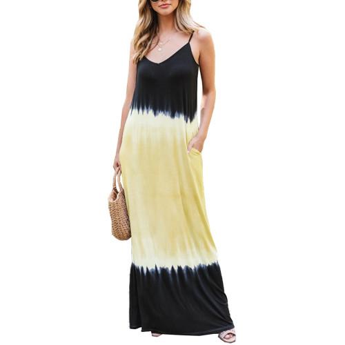 Yellow Ombre Sling Maxi Dress TQK310482-7