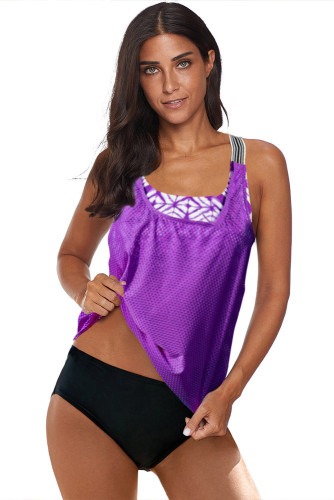 Purple Printed Splicing Racerback Tankini LC411479-8