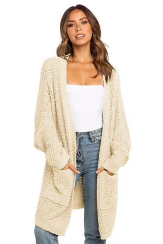 Beige Long Line Open Front Knitted Cardigan with Pockets LC271188-15