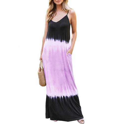 Purple Ombre Sling Maxi Dress TQK310482-8