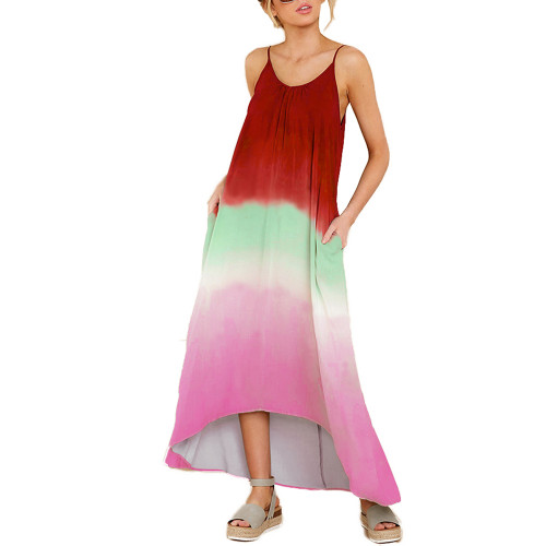 Red Ombre High Low Sling Maxi Dress TQK310483-3