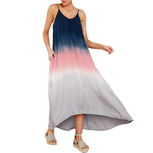 Blue Ombre High Low Sling Maxi Dress TQK310483-5