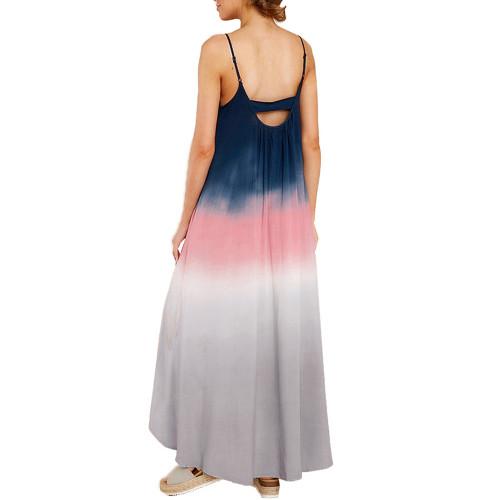 Blue Ombre High Low Sling Maxi Dress TQK310483-5