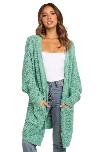 Green Long Line Open Front Knitted Cardigan with Pockets LC271188-9