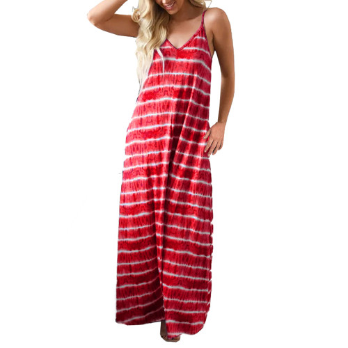 Red V Neck Striped Sling Maxi Dress TQK310485-3