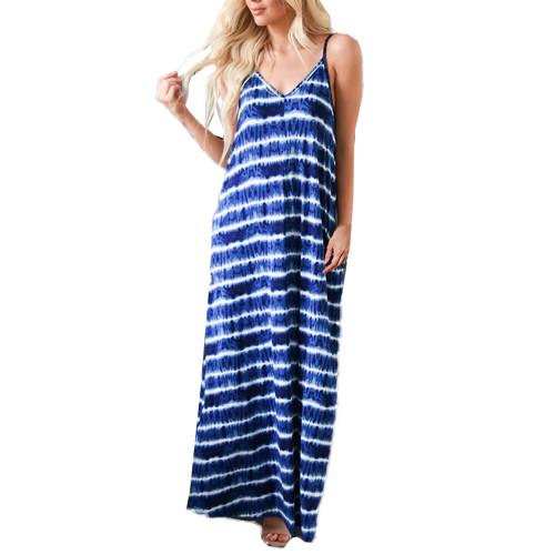 Blue V Neck Striped Sling Maxi Dress TQK310485-5