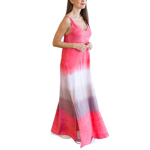 Watermelon Red Ombre Sides Slit Sling Maxi Dress TQK310484-63