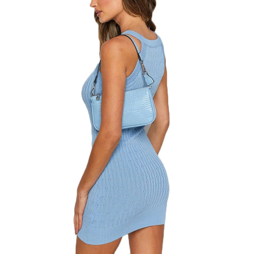 Light Blue Sleeveless Knit Mini Dress TQK310486-30
