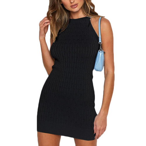 Black Sleeveless Knit Mini Dress TQK310486-2
