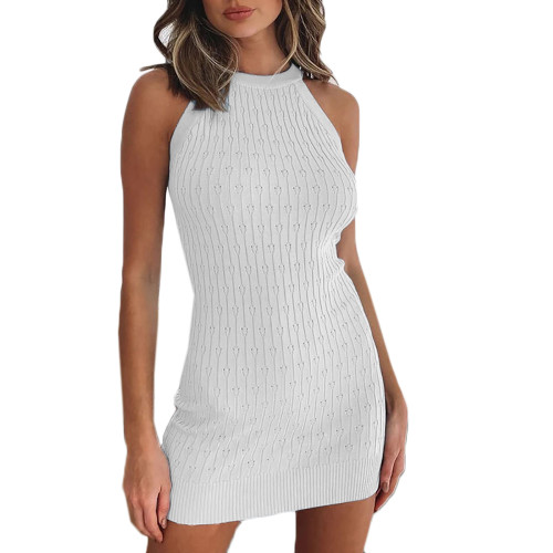 White Sleeveless Knit Mini Dress TQK310486-1