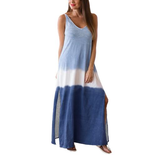 Blue Ombre Sides Slit Sling Maxi Dress TQK310484-5
