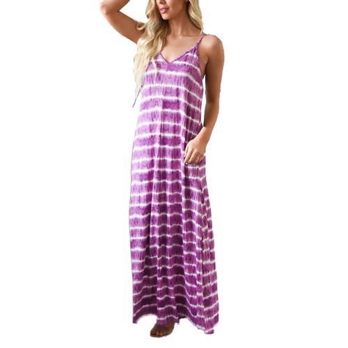 Purple V Neck Striped Sling Maxi Dress TQK310485-8