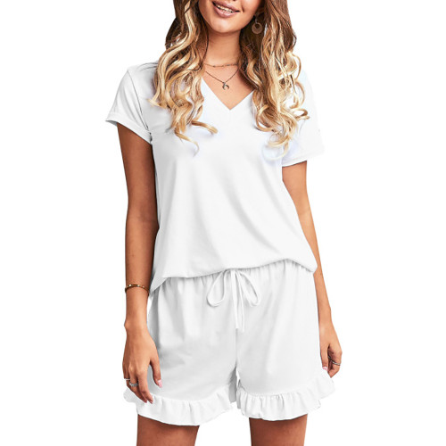 White Ruffle Hem V Neck Short Sleeve Loungewear Set TQK710249-1