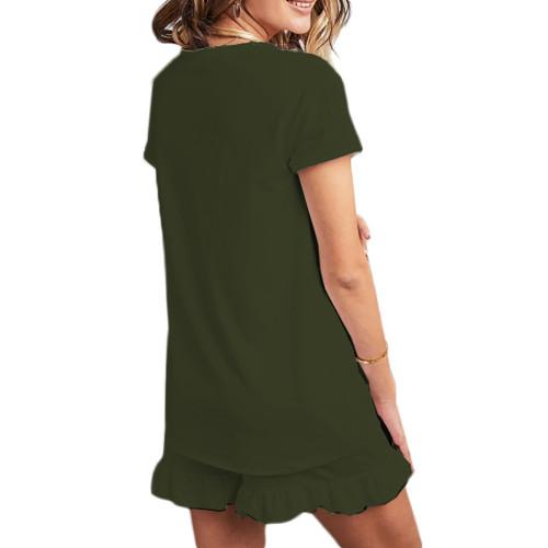 Army Green Ruffle Hem V Neck Short Sleeve Loungewear Set TQK710249-27