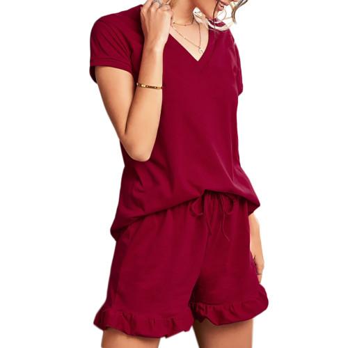 Wine Red Ruffle Hem V Neck Short Sleeve Loungewear Set TQK710249-103