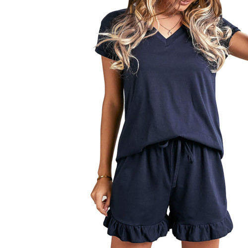 Navy Blue Ruffle Hem V Neck Short Sleeve Loungewear Set TQK710249-34