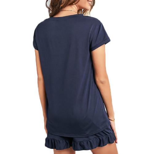 Navy Blue Ruffle Hem V Neck Short Sleeve Loungewear Set TQK710249-34