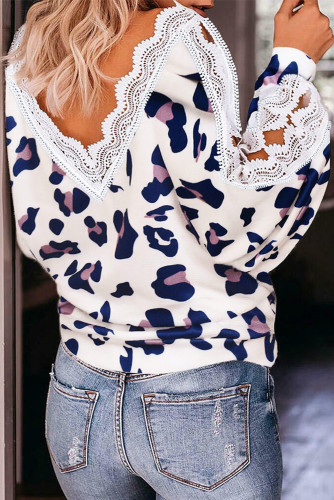 Lace Splicing Hollow Out Leopard V-Neck Blouse LC2514763-1