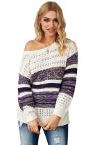 Purple Loose Openwork Round Neck Sweater LC272080-8