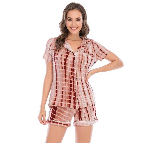Tangerine Short Sleeve Shirt with Shorts Set Loungwear TQK710248-55