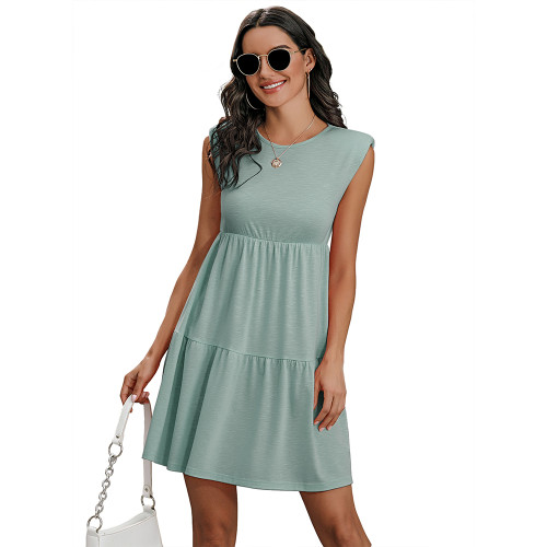 Light Blue Round Neck Padded Shoulder Mini Dress TQK310487-30