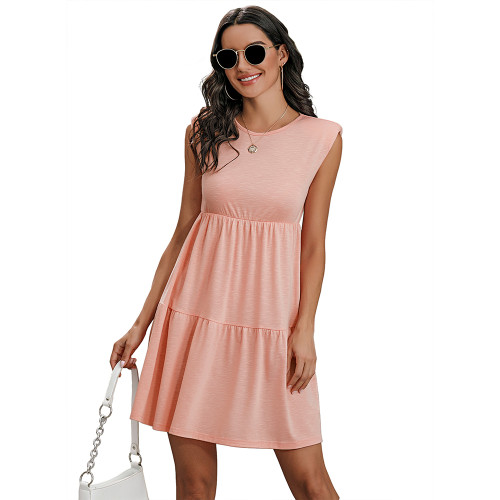 Pink Round Neck Padded Shoulder Mini Dress TQK310487-10