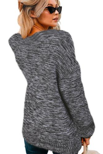 Dark Gray Chunky Wide Long Sleeve Knit Cardigan LC27948-2011