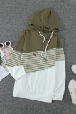 Green Cowl Neck Striped Color Block Drawstring Hoodie LC2532488-9