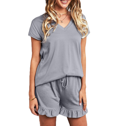 Gray Ruffle Hem V Neck Short Sleeve Loungewear Set TQK710249-11