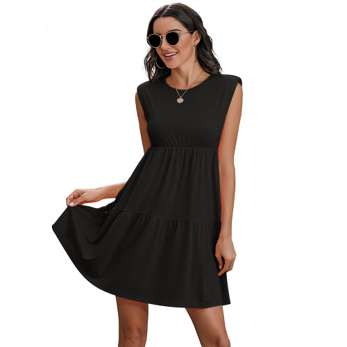 Black Round Neck Padded Shoulder Mini Dress TQK310487-2