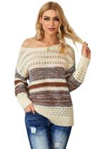 Brown Loose Openwork Round Neck Sweater LC272080-17