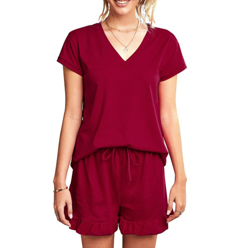 Wine Red Ruffle Hem V Neck Short Sleeve Loungewear Set TQK710249-103