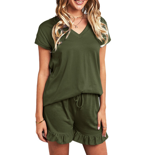 Army Green Ruffle Hem V Neck Short Sleeve Loungewear Set TQK710249-27