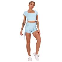 Light Blue Sides Drawstring Short Sleeve Yoga Short Set TQK710241-30