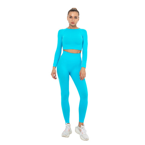 Lake Blue Seamless Long Sleeve Yoga Sports Set TQE00135-110