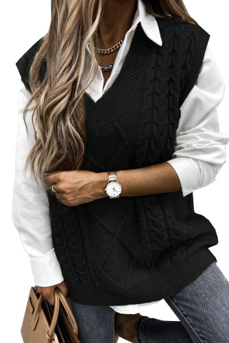 Black Sleeveless Cable Knitted Sweater Tank LC272967-2