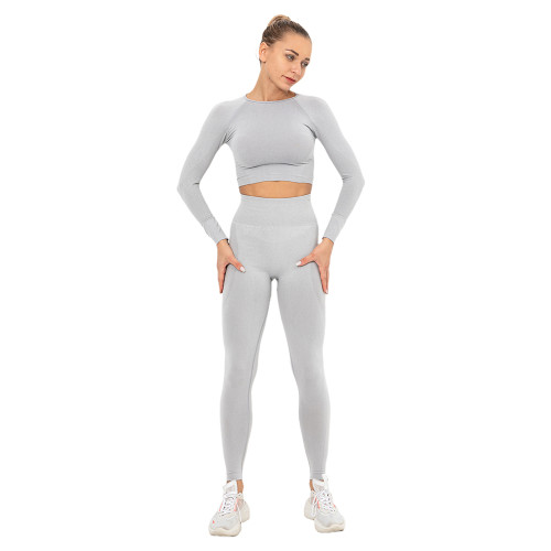 Light Grey Seamless Long Sleeve Yoga Sports Set TQE00135-112