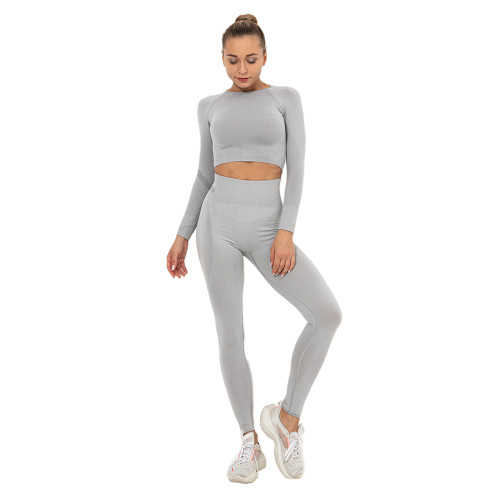 Light Grey Seamless Long Sleeve Yoga Sports Set TQE00135-112