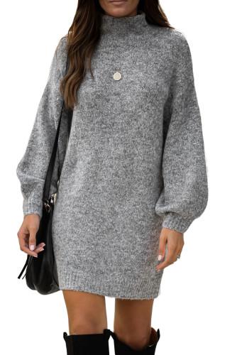 Gray Mock Neck Lantern Sleeves Sweater Dress LC273082-11