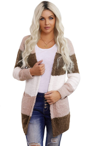 Brown Colorblock Popcorn Knit Cardigan LC271169-17