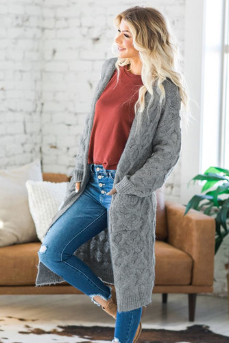 Gray Textured Cable Knit Cardigan LC271224-11