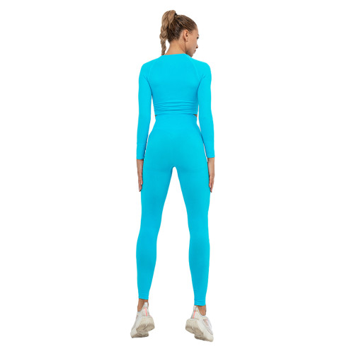 Lake Blue Seamless Long Sleeve Yoga Sports Set TQE00135-110