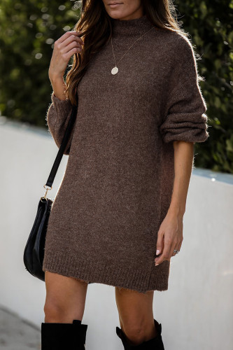 Brown Mock Neck Lantern Sleeves Sweater Dress LC273082-17