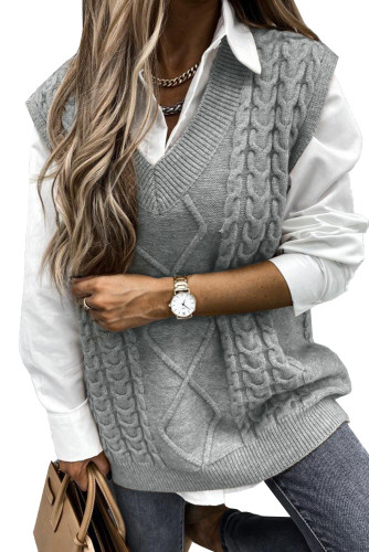 Gray Sleeveless Cable Knitted Sweater Tank LC272967-11